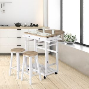3 Pcs Wood Rolling Wood Kitchen Island Trolley Cart with Storage Cabinet Utility White & Wood Color