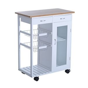 """HomCom 34"""" Rolling Kitchen Trolley Serving Cart with Drawers and Cabinet (Modern & Contemporary)"""