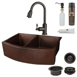 Premier Copper Products KSP2-KA50RDB33249 33 in. Hammered Copper Kitchen Rounded Apron 50 by 50 Double Basin Sink with ORB Pull Down Faucet, Matching Drains & Accessories - Oil Rubbed Bronze