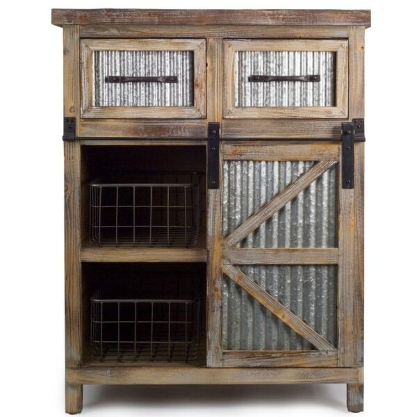 """31.5""""L X 39.5""""H Country Rustic Wooden Kitchen Cabinet with Metal Basket (Brown)"""