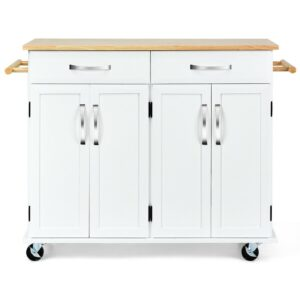 Wood Top Rolling Kitchen Trolley Island Cart Storage Cabinet-White (White)