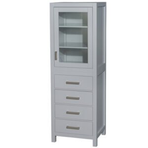 24 inch Linen Tower in Gray with Shelved Cabinet Storage and 4 Drawers