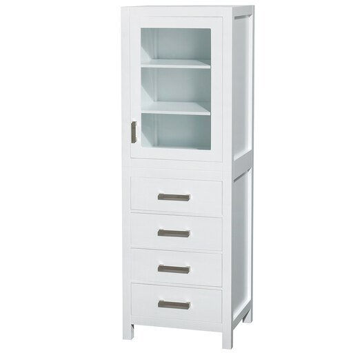 24 inch Linen Tower in White with Shelved Cabinet Storage and 4 Drawers
