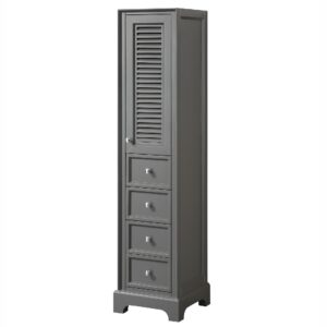 Linen Tower in Dark Gray with Shelved Cabinet Storage and 4 Drawers - Wyndham WCS2121LTKG