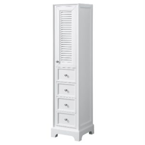 Linen Tower in White with Shelved Cabinet Storage and 4 Drawers - Wyndham WCS2121LTWH